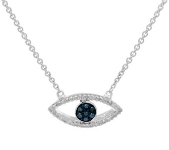 "Diamond Evil Eye 18"" Necklace, Sterling 1/10 cttw, Affinity - J335492"
