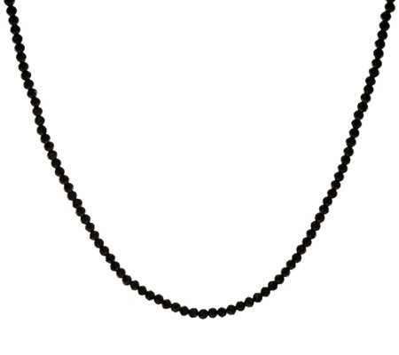 "JAI 18"" Sterling Silver Black Spinel Bead Necklace"