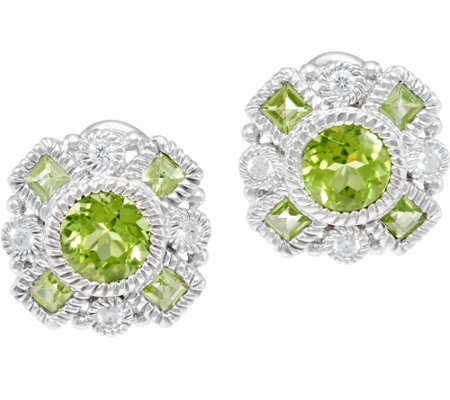 Judith Ripka Sterling Gemstone Button Earrings