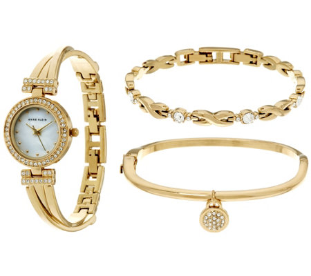 """As Is"" Anne Klein Crystal Bangle Watch and Bracelet Set"