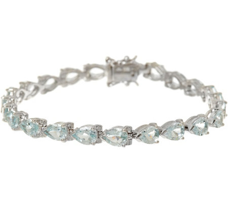 "Pear Cut Aquamarine Sterling Silver 7-1/4"" Tennis Bracelet"