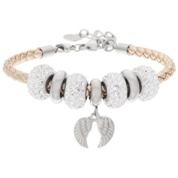 Stainless Steel Bracelet with Charm & Crystal Beads