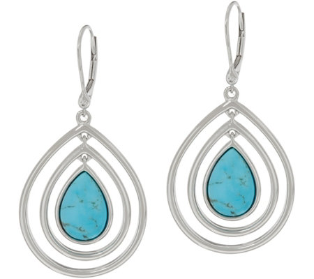 Kingman Turquoise Sterling Drop Earrings