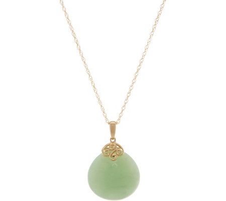 "Jade Bold Drop Pendant on 18"" Chain, 14K Gold"