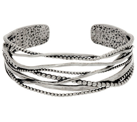 """As Is"" Sterling Silver Multi-texture Openwork Cuff by Or Paz 24.0g"