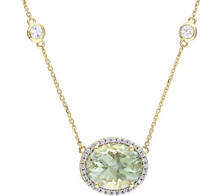 14K 5.10 ct Green Amethyst & 1/6 cttw Diamond Necklace