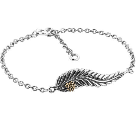 American West Sterling & Brass Leaf LadybugBracelet