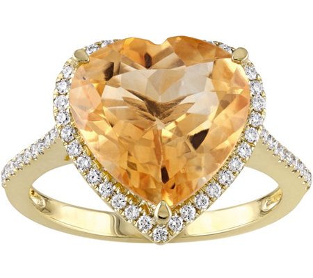 14K 4.90 ct Citrine & 1/4 cttw Diamond Heart Halo Ring