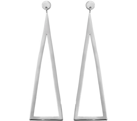Sterling Triangle Dangle Post Earrings by Silver Style