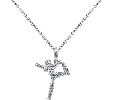 Diamonique Sterling Dancer Pendant with Chain