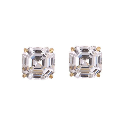 Diamonique 4.00 ct tw Asscher Stud Earrings, 14K Gold