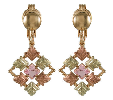 Black Hills Checkerboard Pink Helenite Earrings , 10K/12K/14K