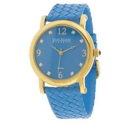 Joan Rivers Colorburst Woven Leather Strap Watch
