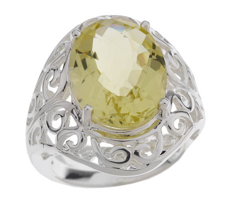 Sterling 6.35 ct Bold Oval Limon Quartz Filigree Ring