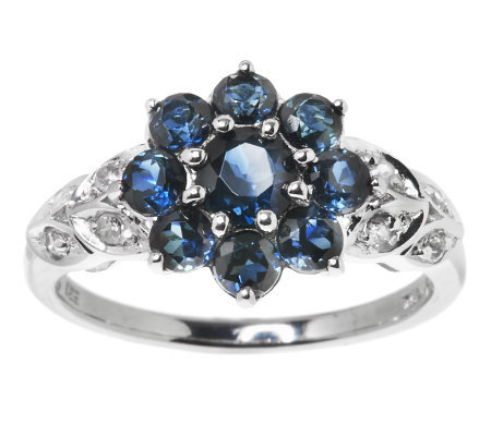 1.75 ct tw Thai Blue Sapphire and White Zircon Sterling Ring