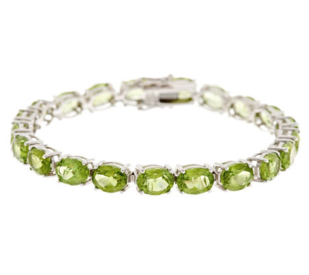 "27.60 ct tw Peridot Oval 8"" Sterling Tennis Bracelet"