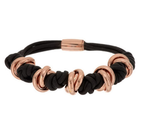 Bronze Knotted Cord Magnetic Clasp Bracelet by Bronzo Italia
