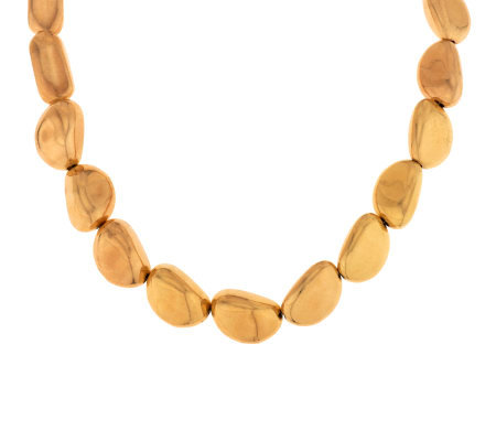 "Oro Nuovo 18"" Polished Nugget Necklace with Magnetic Clasp, 14K"