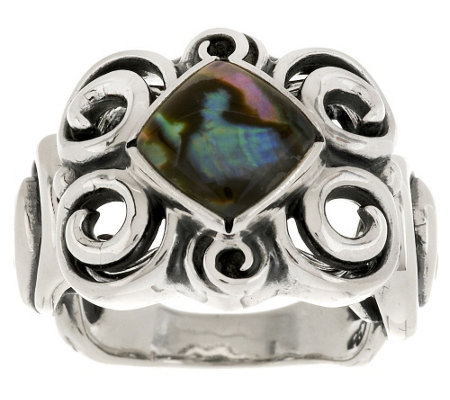 Carolyn Pollack Whirlwind Sterling Abalone Doublet Ring