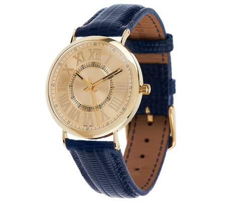 Vicence Round Case Leather Strap Watch, 14K