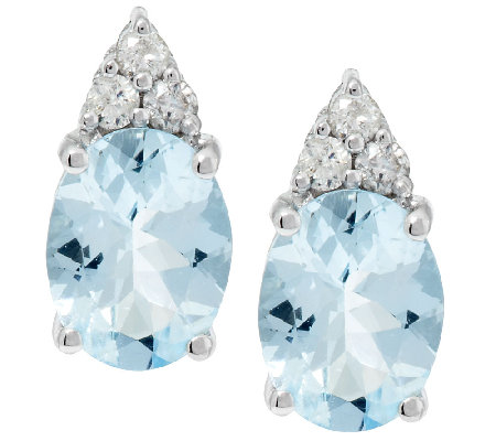1.60 ct tw Oval Aquamarine and 1/10ct tw Diamond Stud Earrings, 14K