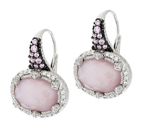 Judith Ripka Sterling Silver Rose Quartz Doublet Earrings