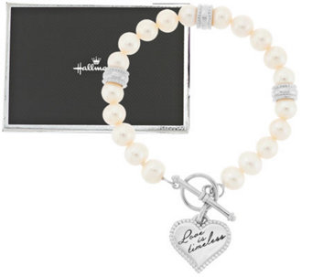 """As Is"" Hallmark Cultured Pearl Toggle Bracelet ,Sterling - J294593"