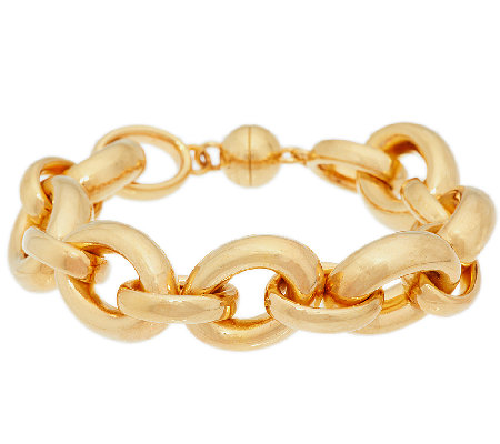 """As Is"" Bold Polished 7-1/4"" Rolo Link Bracelet, 14K Gold"