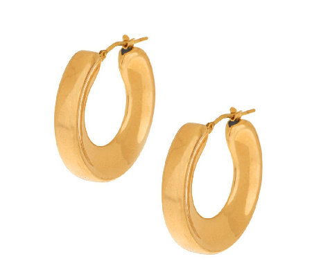 """As Is"" Oro Nuovo 1-1/8"" Concave Round Hoop Earrings 14K Gold"
