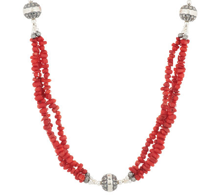 "3-Strand Red Coral Bead 36"" Sterling Necklace by American West"