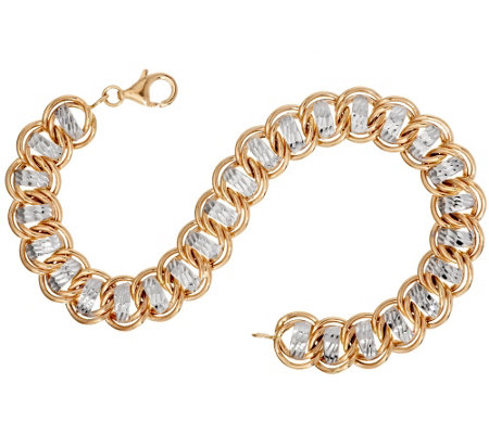 "14K Gold 7-1/4"" Diamond Cut Curb Link Bracelet, 6.1g"