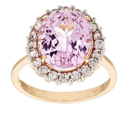 5.75 ct tw Kunzite and White Zircon Ring, 14K Gold