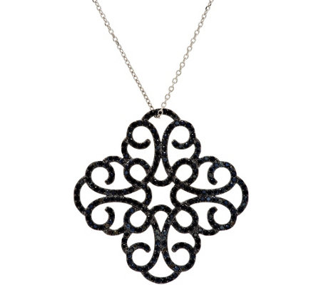 "Italian Silver Sterling Crystal Scroll Design Pendant with 18"" Chain"