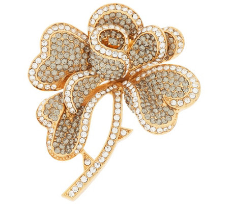 Joan Rivers Hearts & Flowers Pave' Brooch
