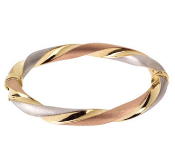 "Arte d'Oro 7"" Tri-Color Twisted Bangle 18K Bracelet, 14.6g - J299193"
