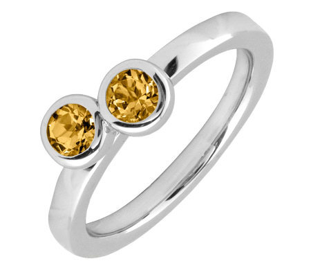 Simply Stacks Sterling & Citrine Double CircleRing