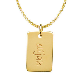 Posh Mommy 18K Gold-Plated Mini Dog Tag Pendantwith Chain - J300093
