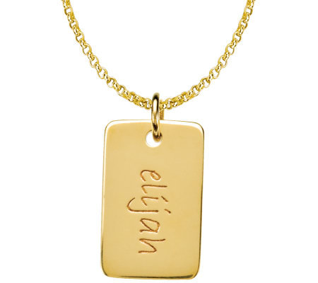 Posh Mommy 18K Gold-Plated Mini Dog Tag Pendantwith Chain