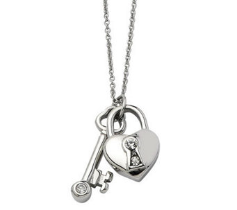 "Stainless Steel Heart Lock & Key Pendant w/ 17""Chain - J302493"