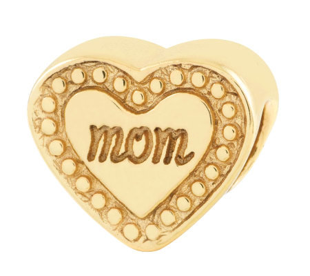 Prerogatives 14K Yellow Gold-Plated Sterling Mom Heart Bead