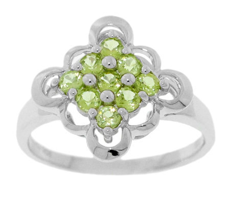 Sterling 0.50 ct tw Peridot Scalloped-Edge Ring