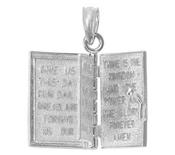 Holy Bible Book Pendant, Sterling/14K Gold - J304893