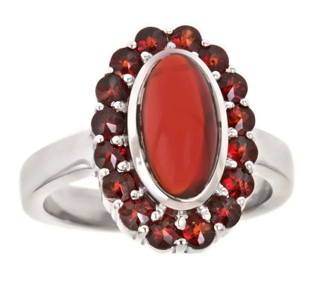 Oval Garnet Cabochon Ring, Sterling