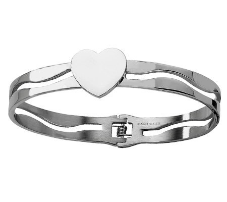 Stainless Steel Heart Hinged Bracelet