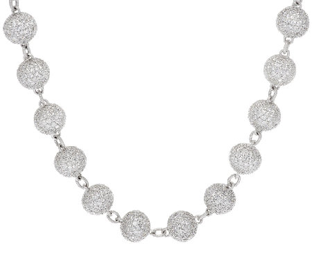Judith Ripka Sterling & 77.90 ct Pave' Diamonique Bead Necklace