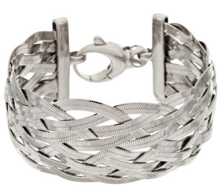 Bronze Solid Braided Herringbone Bracelet by Bronzo Italia