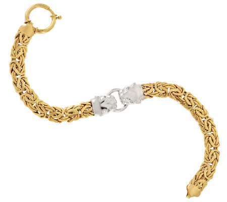"14K Gold 6-3/4"" Two-Tone Panther Head Byzantine Bracelet, 9.7g"