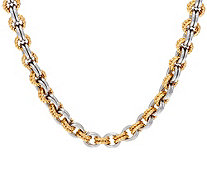 "Stainless Steel Two-Tone Textured Link 18"" Necklace - J319693"