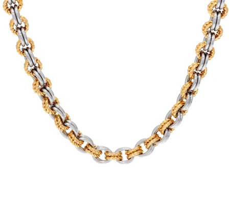 "Stainless Steel Two-Tone Textured Link 18"" Necklace"