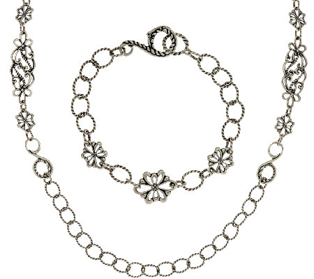 Carolyn Pollack Sterling Silver Necklace & Bracelet Set, 40.0g